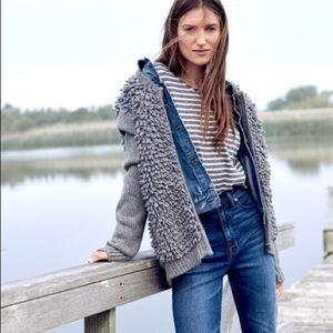 Madewell gray shaggy loop fringe sweater